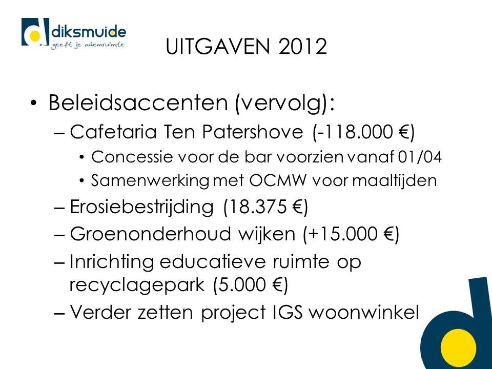 UITGAVEN 2012 Beleidsaccenten (vervolg): – Cafetaria Ten Patershove (-118.000 €) Concessie voor de bar voorzien vanaf 01/04 Samenwerking met OCMW voor maaltijden – Erosiebestrijding (18.375 €) – Groenonderhoud wijken (+15.000 €) – Inrichting educatieve ruimte op recyclagepark (5.000 €) – Verder zetten project IGS woonwinkel