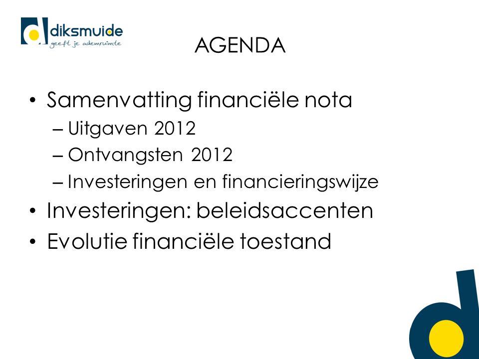 AGENDA Samenvatting financiële nota – Uitgaven 2012 – Ontvangsten 2012 – Investeringen en financieringswijze Investeringen: beleidsaccenten Evolutie financiële toestand