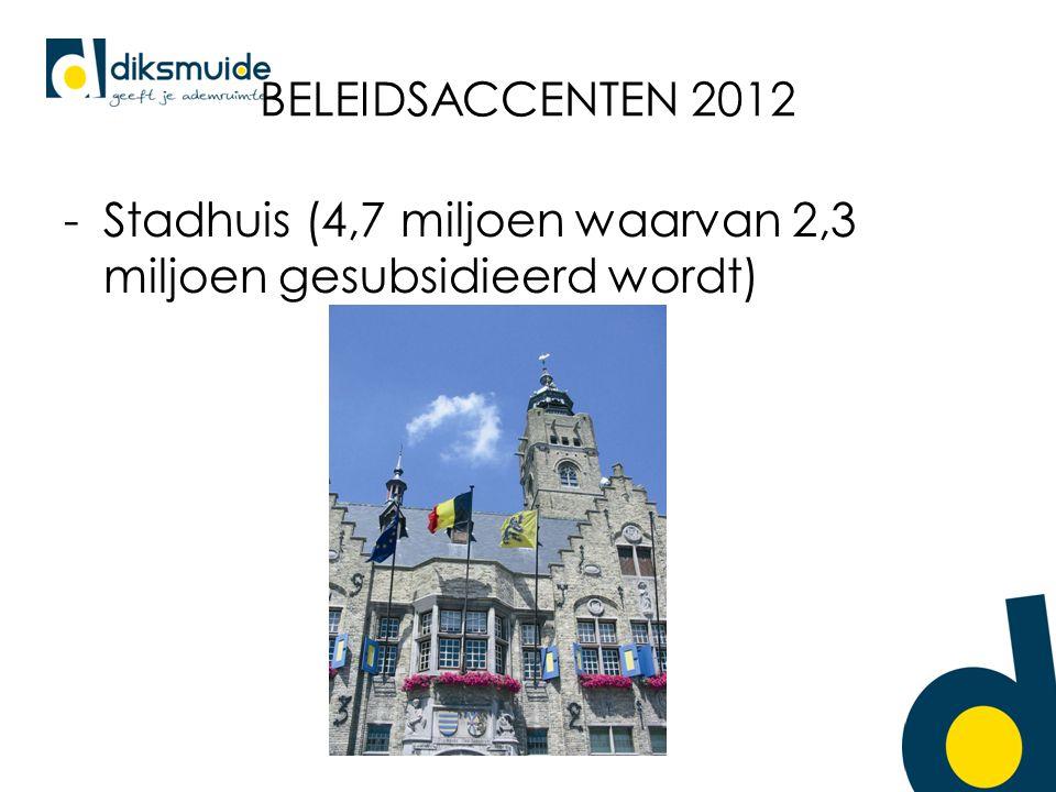 BELEIDSACCENTEN 2012 -Stadhuis (4,7 miljoen waarvan 2,3 miljoen gesubsidieerd wordt)