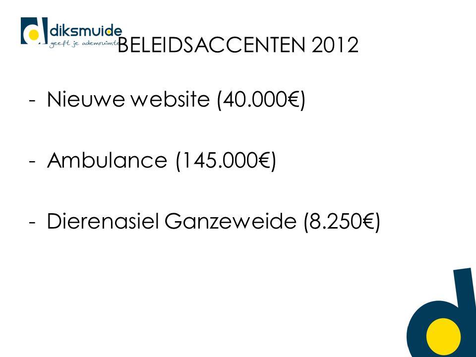 BELEIDSACCENTEN 2012 -Nieuwe website (40.000€) -Ambulance (145.000€) -Dierenasiel Ganzeweide (8.250€)