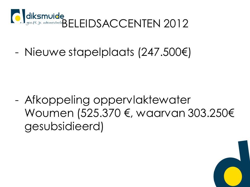 BELEIDSACCENTEN 2012 -Nieuwe stapelplaats (247.500€) -Afkoppeling oppervlaktewater Woumen (525.370 €, waarvan 303.250€ gesubsidieerd)