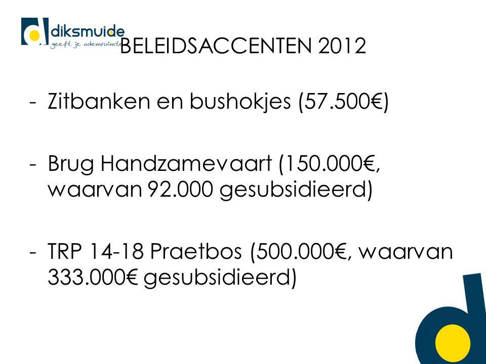 BELEIDSACCENTEN 2012 -Zitbanken en bushokjes (57.500€) -Brug Handzamevaart (150.000€, waarvan 92.000 gesubsidieerd) -TRP 14-18 Praetbos (500.000€, waarvan 333.000€ gesubsidieerd)
