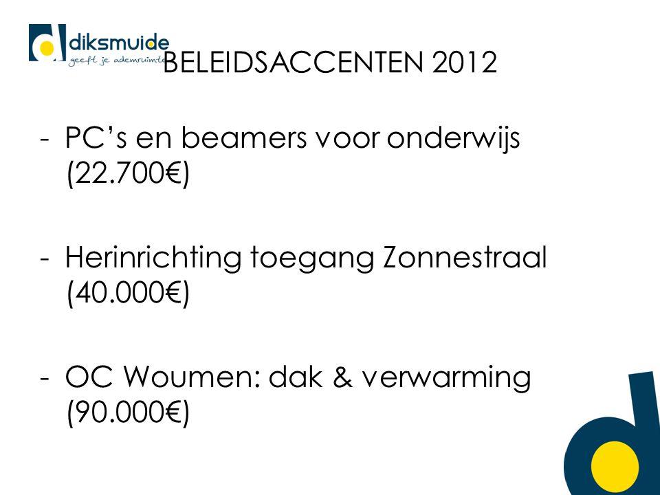 BELEIDSACCENTEN 2012 -PC's en beamers voor onderwijs (22.700€) -Herinrichting toegang Zonnestraal (40.000€) -OC Woumen: dak & verwarming (90.000€)