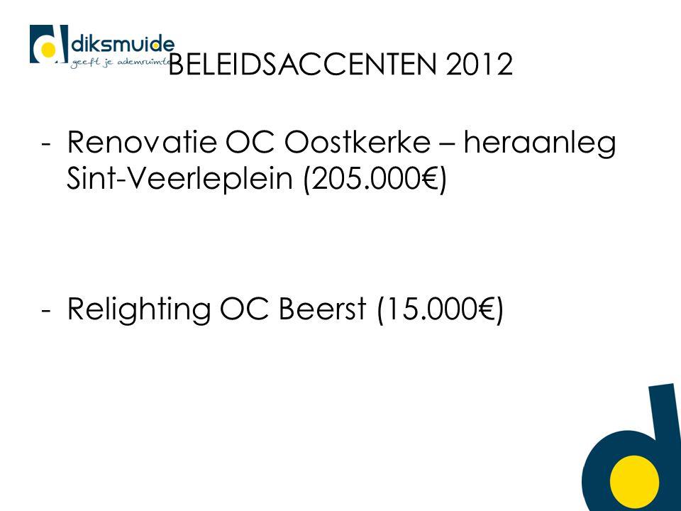 BELEIDSACCENTEN 2012 -Renovatie OC Oostkerke – heraanleg Sint-Veerleplein (205.000€) -Relighting OC Beerst (15.000€)