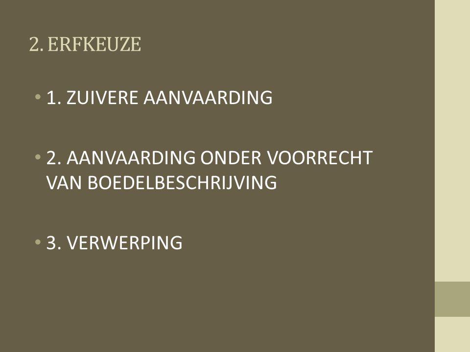 2. ERFKEUZE 1. ZUIVERE AANVAARDING 2. AANVAARDING ONDER VOORRECHT VAN BOEDELBESCHRIJVING 3. VERWERPING