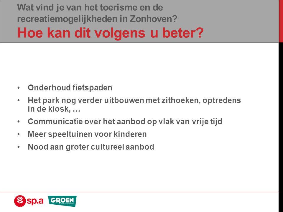 Wat vind je van het toerisme en de recreatiemogelijkheden in Zonhoven.