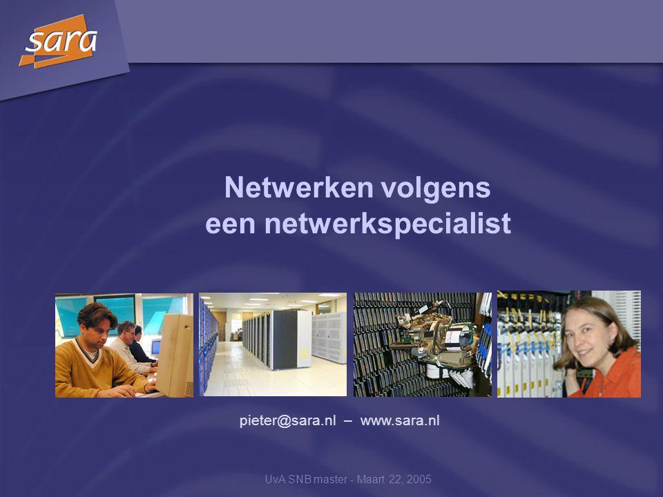 UvA SNB master - Maart 22, 2005 Netwerken volgens een netwerkspecialist pieter@sara.nl – www.sara.nl