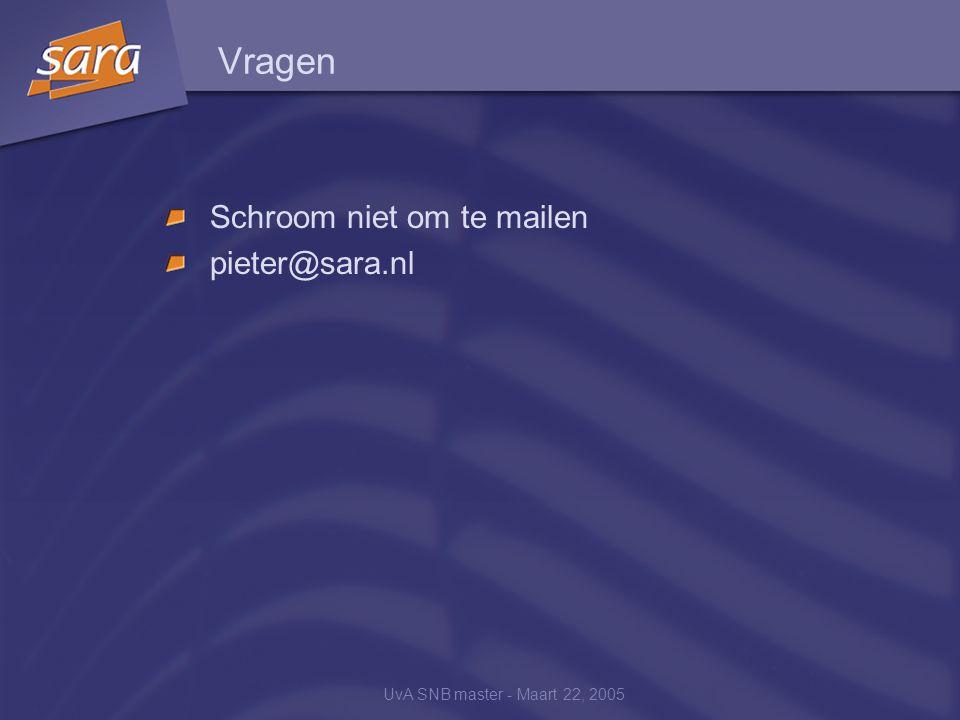 UvA SNB master - Maart 22, 2005 Vragen Schroom niet om te mailen pieter@sara.nl