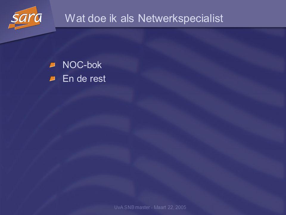 UvA SNB master - Maart 22, 2005 Wat doe ik als Netwerkspecialist NOC-bok En de rest