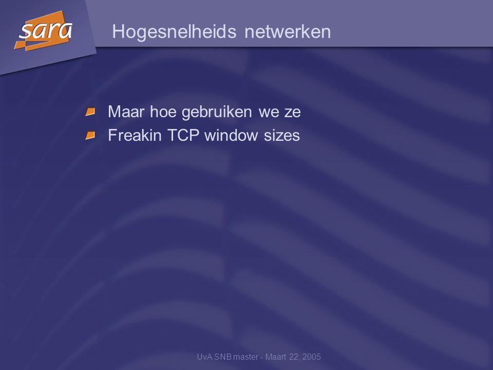 UvA SNB master - Maart 22, 2005 Hogesnelheids netwerken Maar hoe gebruiken we ze Freakin TCP window sizes