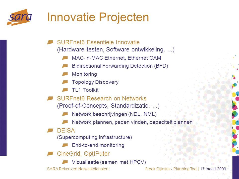Freek Dijkstra - Planning Tool | 17 maart 2009SARA Reken- en Netwerkdiensten Innovatie Projecten SURFnet6 Essentiele Innovatie (Hardware testen, Softw