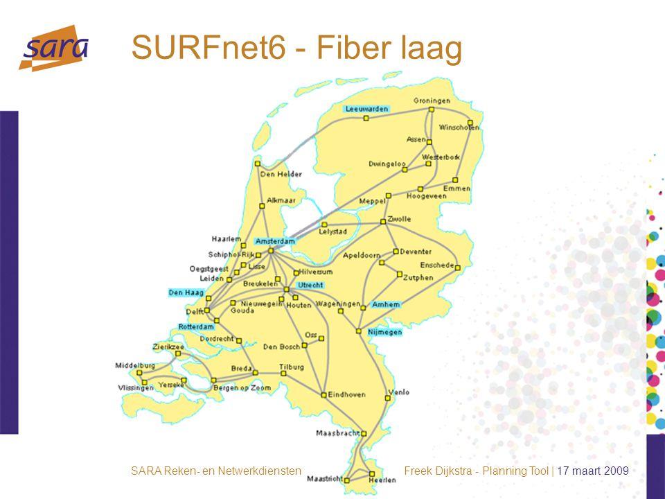Freek Dijkstra - Planning Tool | 17 maart 2009SARA Reken- en Netwerkdiensten SURFnet6 - Fiber laag