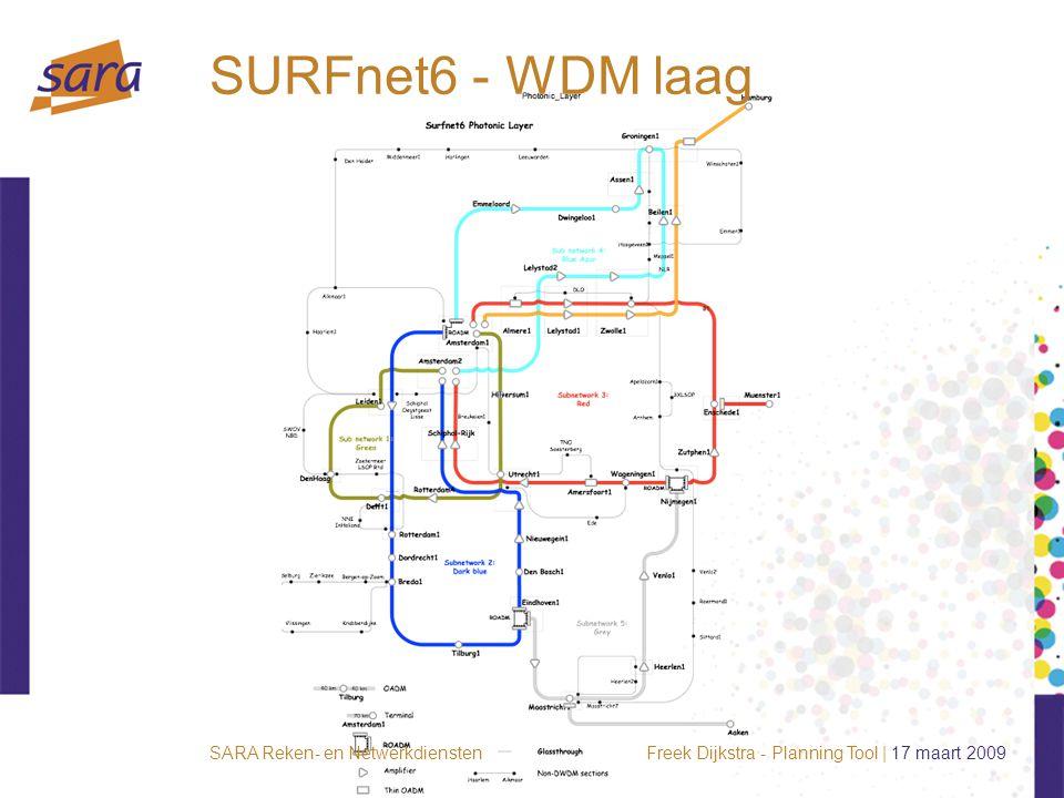 Freek Dijkstra - Planning Tool | 17 maart 2009SARA Reken- en Netwerkdiensten SURFnet6 - WDM laag