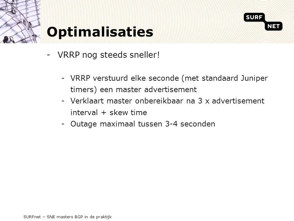 Optimalisaties -VRRP nog steeds sneller.