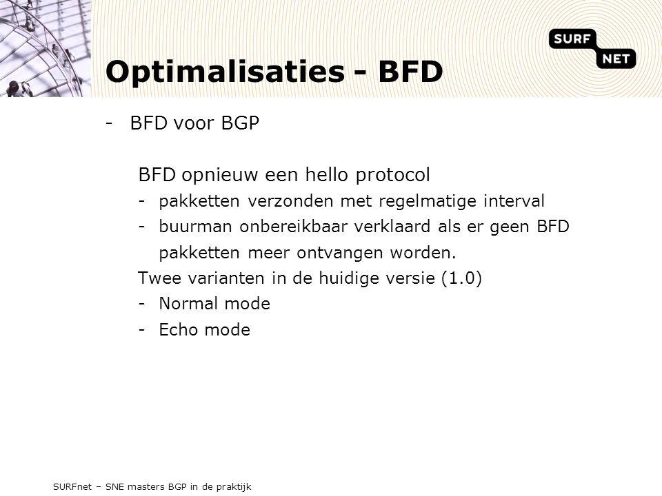 Optimalisaties - BFD -BFD voor BGP BFD opnieuw een hello protocol -pakketten verzonden met regelmatige interval -buurman onbereikbaar verklaard als er geen BFD pakketten meer ontvangen worden.