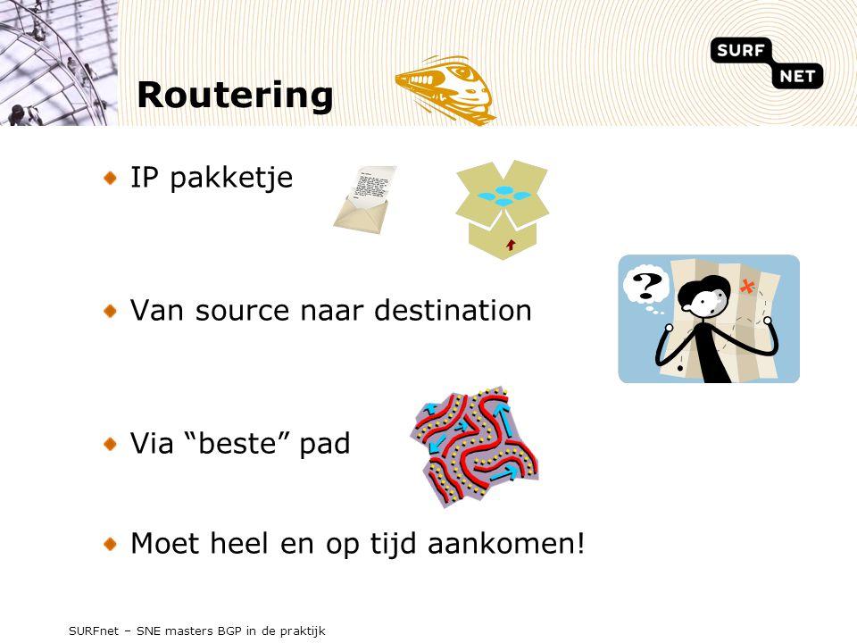 SURFnet – SNE masters BGP in de praktijk Routering IP pakketje Van source naar destination Via beste pad Moet heel en op tijd aankomen!