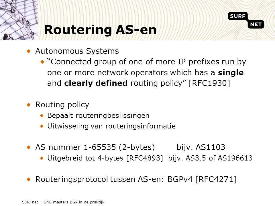 SURFnet – SNE masters BGP in de praktijk UPDATE message Inter AS routering Int 2 Int 1 AS2 AS1 AS3 AS4 AS5 iBGP eBGP AS2 prefix UPDATE message UPDATE message UPDATE message prefix = AS-path AS4 AS3 AS2 = AS-path AS4 AS1 AS2