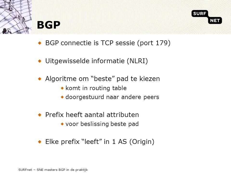 SURFnet – SNE masters BGP in de praktijk BGP BGP connectie is TCP sessie (port 179) Uitgewisselde informatie (NLRI) Algoritme om beste pad te kiezen komt in routing table doorgestuurd naar andere peers Prefix heeft aantal attributen voor beslissing beste pad Elke prefix leeft in 1 AS (Origin)