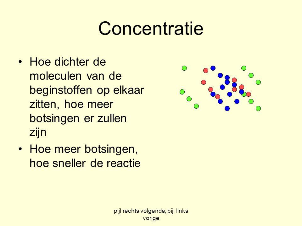 pijl rechts volgende; pijl links vorige Concentratie Hoe dichter de moleculen van de beginstoffen op elkaar zitten, hoe meer botsingen er zullen zijn