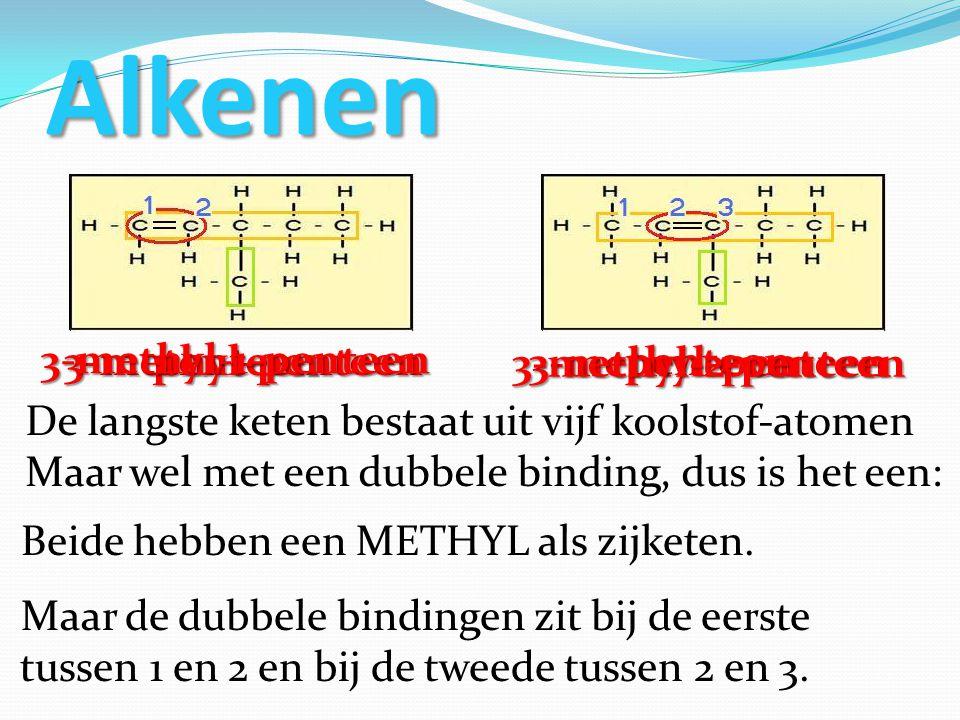 Alkenen De langste keten bestaat uit vijf koolstof-atomen Maar wel met een dubbele binding, dus is het een: penteenpenteen Beide hebben een METHYL als zijketen.