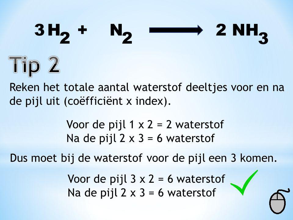 H + N 2 NH 3 22 Reken het totale aantal stikstof deeltjes voor en na de pijl nog een keer uit (coëfficiënt x index). Voor de pijl 1 x 2 = 2 stikstof N