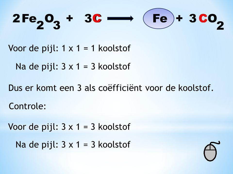 Fe O + C Fe + CO 32 2 Voor de pijl: 1 x 3 = 3 zuurstof Na de pijl: 1 x 2 = 2 zuurstof Dus getallen verwisselen en coëfficiënten invullen. 2 3 Controle