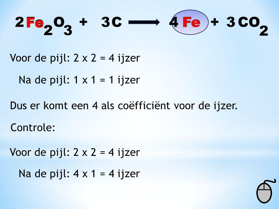 Fe O + C Fe + CO 32 2 Voor de pijl: 1 x 1 = 1 koolstof Na de pijl: 3 x 1 = 3 koolstof Dus er komt een 3 als coëfficiënt voor de koolstof. 2 3 Controle