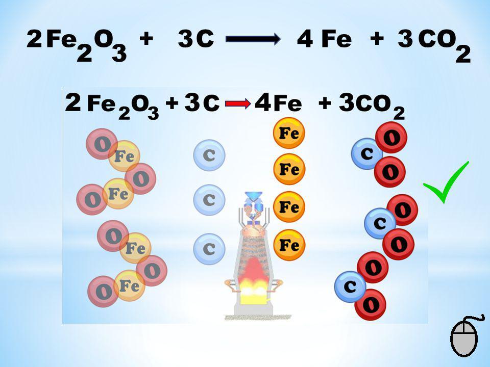 Fe O + C Fe + CO 32 2 Voor de pijl: 2 x 2 = 4 ijzer Na de pijl: 1 x 1 = 1 ijzer Dus er komt een 4 als coëfficiënt voor de ijzer. 2 3 Controle: Voor de