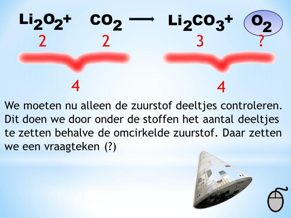 Li O 22 + CO 2 Li CO 2 32 + O Voor de pijl: 1 x 2 = 2 lithium Na de pijl: 1 x 2 = 2 lithium Voor de pijl: 1 x 1 = 1 koolstof Na de pijl: 1 x 1 = 1 koo