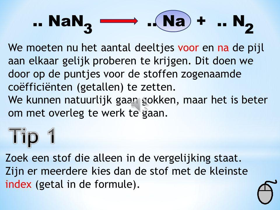 2 NaN 2 Na + 3 N 23 Deze ontleding van natriumazide hadden we al opge- lost met het tekenen van alle deelnemende stoffen. We gaan nu proberen deze rea