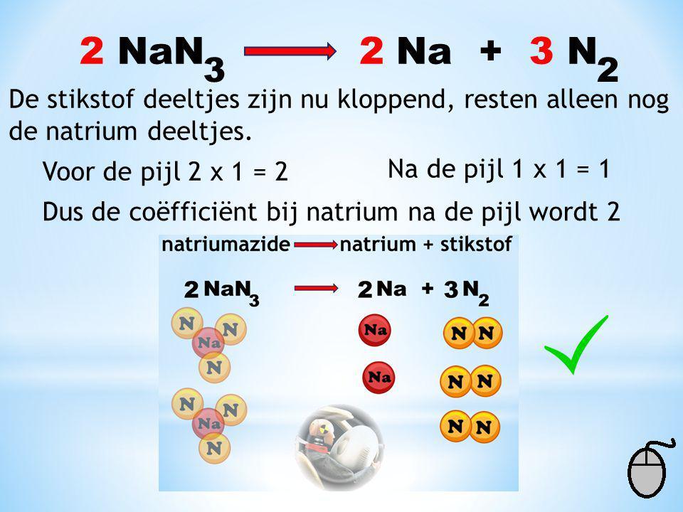 .. NaN.. Na +.. N 23 3 2 Nu moeten we er voor zorgen dat voor en na de pijl het aantal stikstofdeeltjes gelijk wordt. Als een kant even (2, 4 of 6) is
