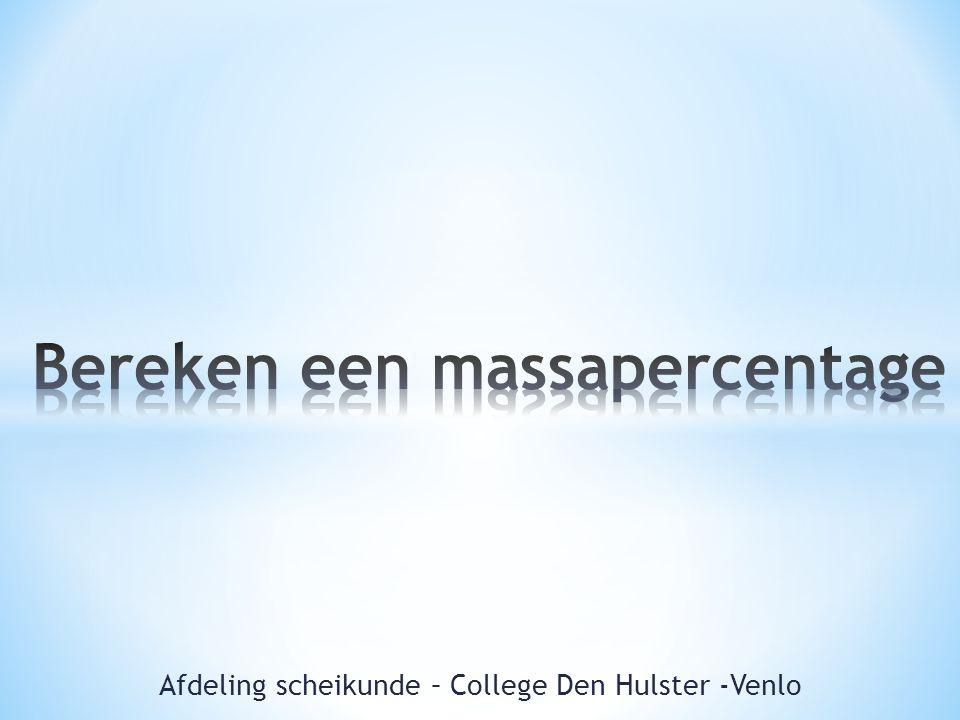 Afdeling scheikunde – College Den Hulster -Venlo