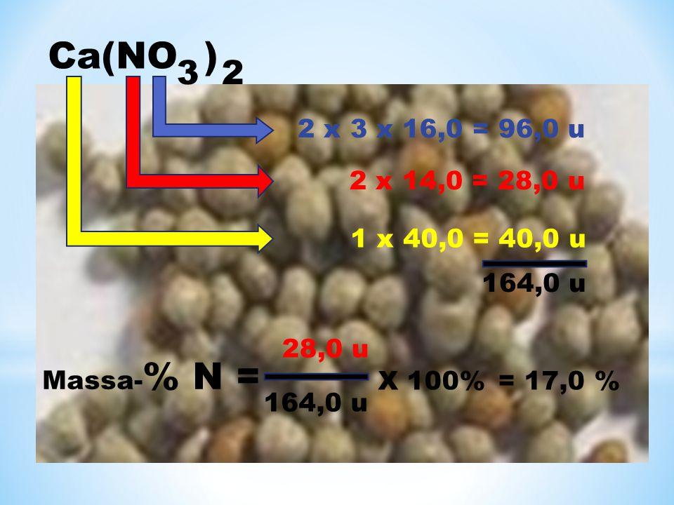 Ca(NO ) 3 2 2 x 3 x 16,0 = 96,0 u 2 x 14,0 = 28,0 u 1 x 40,0 = 40,0 u 164,0 u Massa- % N = 28,0 u 164,0 u X 100% = 17,0 %
