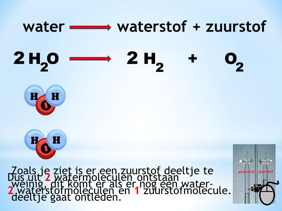 H O H + O 2 2 2 Zoals je ziet is er een zuurstof deeltje te weinig, dit komt er als er nog een water- deeltje gaat ontleden.