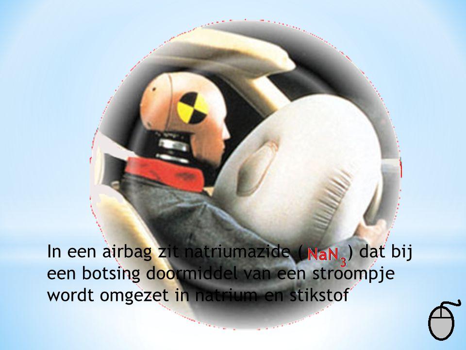 In een airbag zit natriumazide ( ) dat bij een botsing doormiddel van een stroompje wordt omgezet in natrium en stikstof