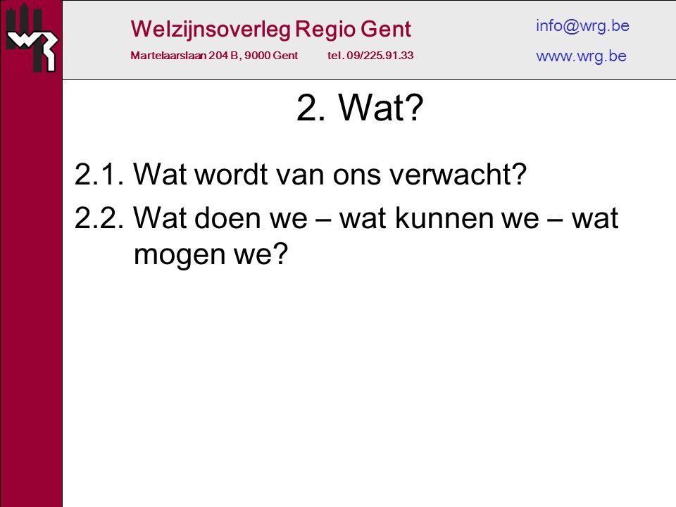 Welzijnsoverleg Regio Gent Martelaarslaan 204 B, 9000 Gent tel. 09/225.91.33 info@wrg.be www.wrg.be 2. Wat? 2.1. Wat wordt van ons verwacht? 2.2. Wat