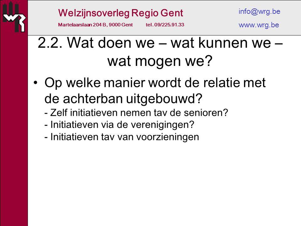 Welzijnsoverleg Regio Gent Martelaarslaan 204 B, 9000 Gent tel. 09/225.91.33 info@wrg.be www.wrg.be 2.2. Wat doen we – wat kunnen we – wat mogen we? O