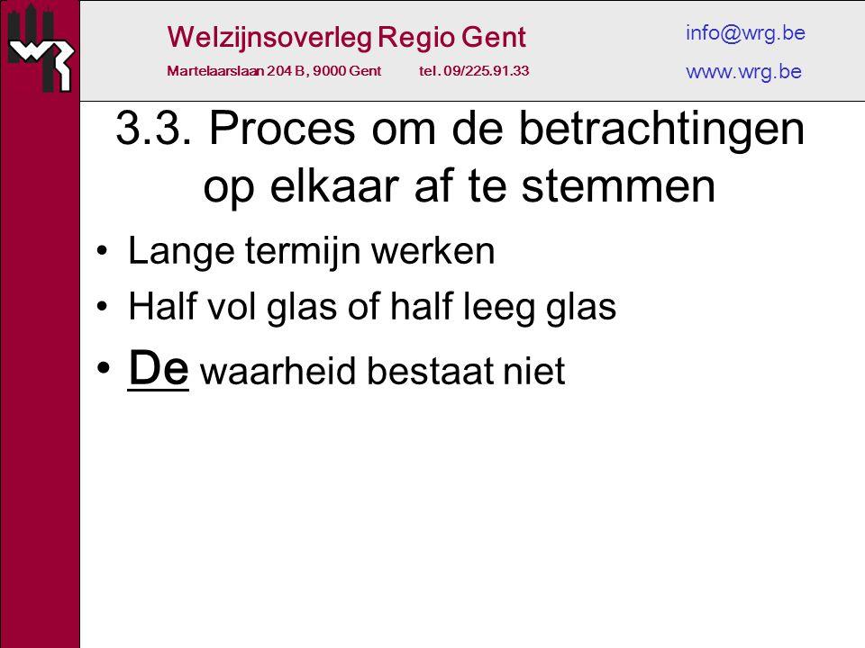 Welzijnsoverleg Regio Gent Martelaarslaan 204 B, 9000 Gent tel. 09/225.91.33 info@wrg.be www.wrg.be 3.3. Proces om de betrachtingen op elkaar af te st