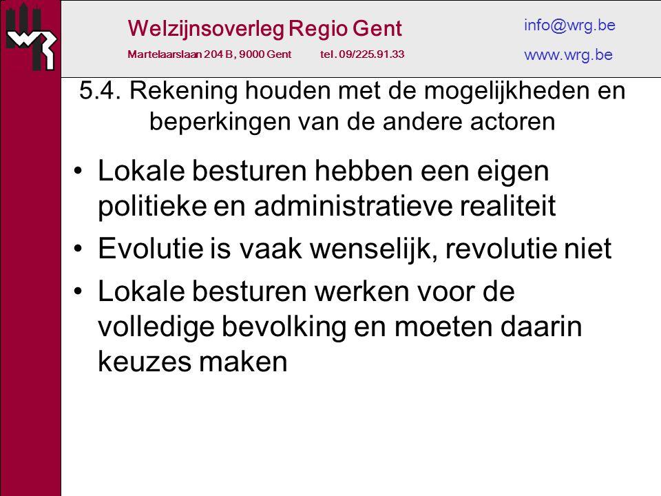Welzijnsoverleg Regio Gent Martelaarslaan 204 B, 9000 Gent tel. 09/225.91.33 info@wrg.be www.wrg.be 5.4. Rekening houden met de mogelijkheden en beper