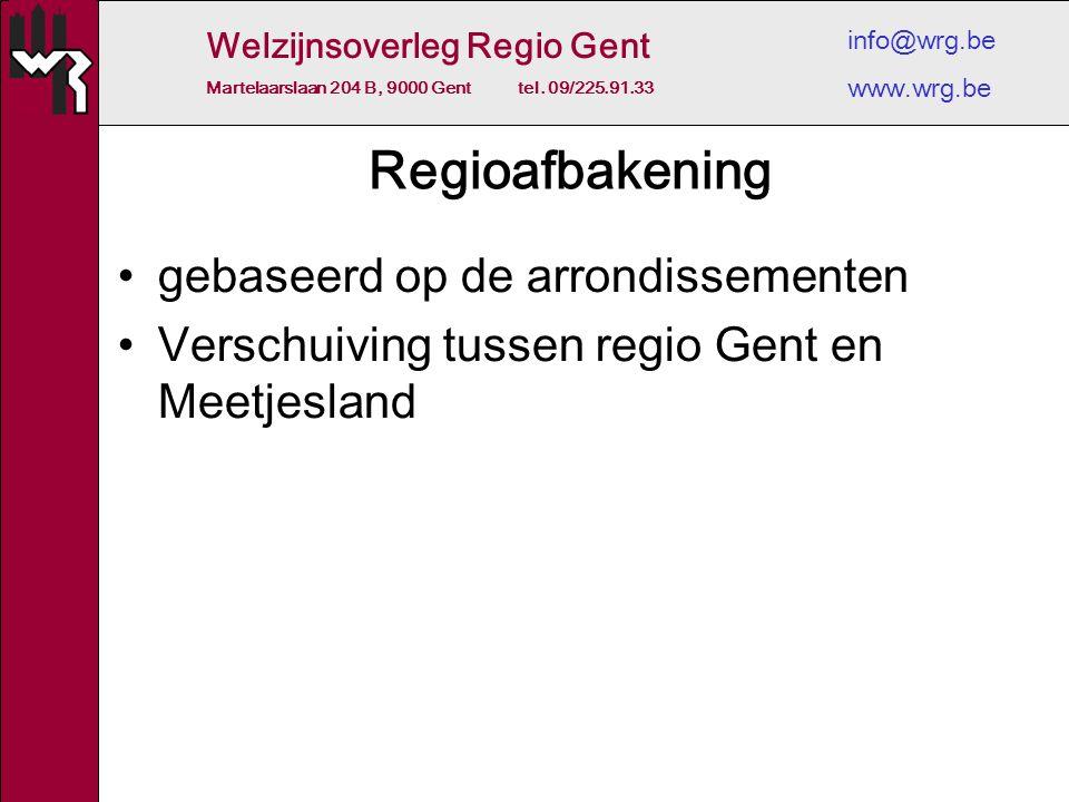 Welzijnsoverleg Regio Gent Martelaarslaan 204 B, 9000 Gent tel. 09/225.91.33 info@wrg.be www.wrg.be Regioafbakening gebaseerd op de arrondissementen V