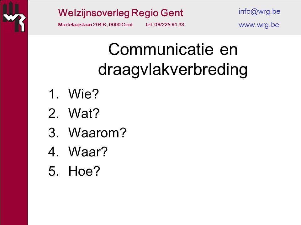 Welzijnsoverleg Regio Gent Martelaarslaan 204 B, 9000 Gent tel. 09/225.91.33 info@wrg.be www.wrg.be Communicatie en draagvlakverbreding 1.Wie? 2.Wat?