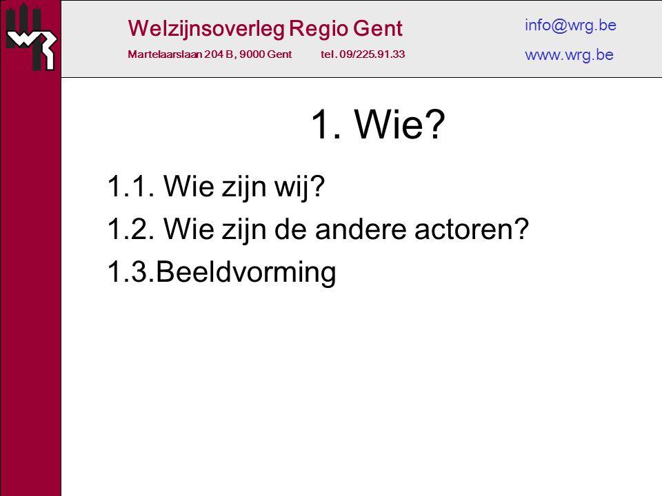 Welzijnsoverleg Regio Gent Martelaarslaan 204 B, 9000 Gent tel. 09/225.91.33 info@wrg.be www.wrg.be 1. Wie? 1.1. Wie zijn wij? 1.2. Wie zijn de andere