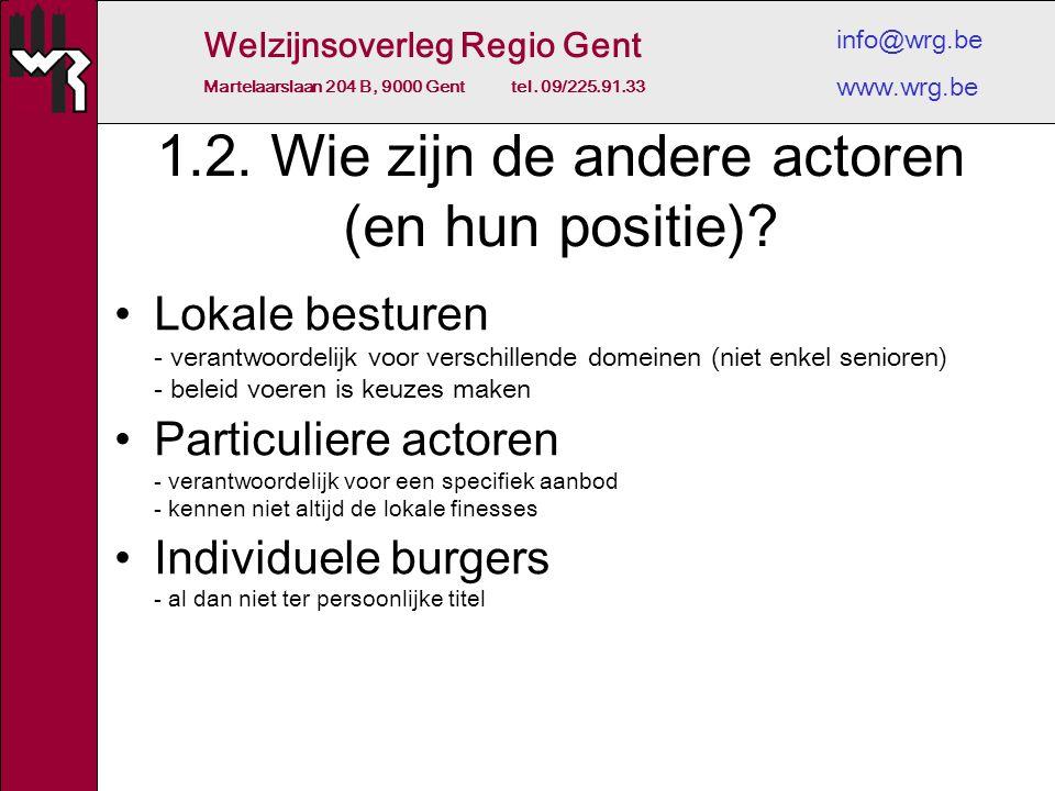 Welzijnsoverleg Regio Gent Martelaarslaan 204 B, 9000 Gent tel. 09/225.91.33 info@wrg.be www.wrg.be 1.2. Wie zijn de andere actoren (en hun positie)?