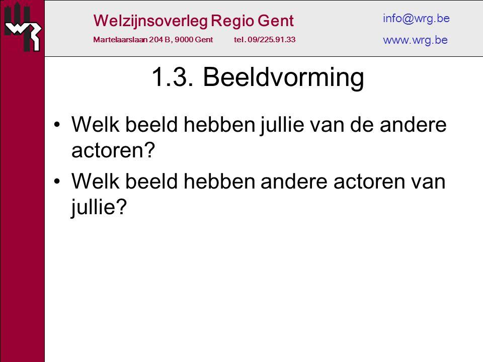 Welzijnsoverleg Regio Gent Martelaarslaan 204 B, 9000 Gent tel. 09/225.91.33 info@wrg.be www.wrg.be 1.3. Beeldvorming Welk beeld hebben jullie van de