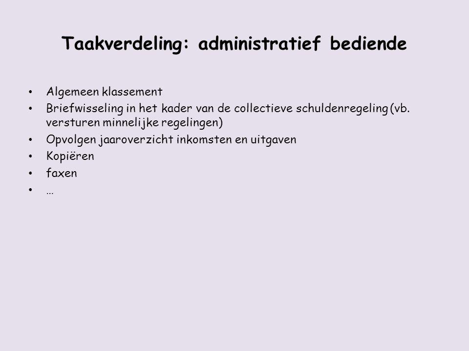 Taakverdeling: administratief bediende Algemeen klassement Briefwisseling in het kader van de collectieve schuldenregeling (vb. versturen minnelijke r