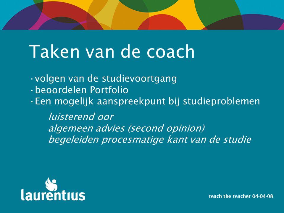 teach the teacher 04-04-08 Taken van de coach volgen van de studievoortgang beoordelen Portfolio Een mogelijk aanspreekpunt bij studieproblemen luiste