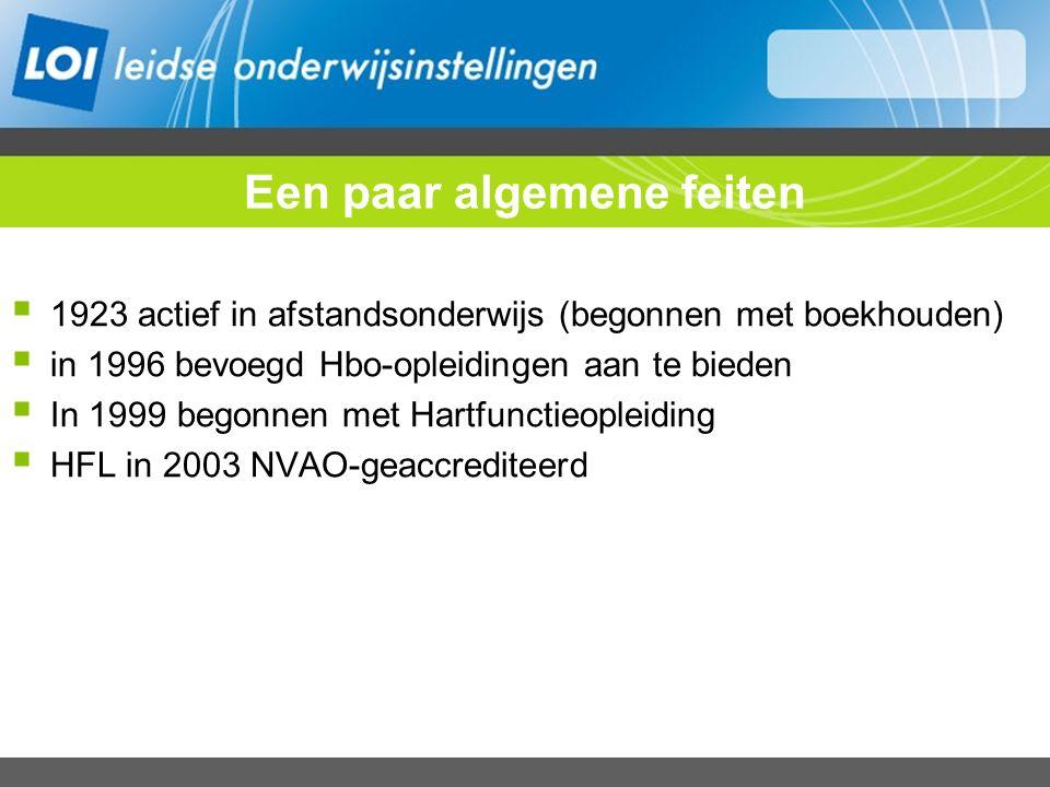 Een paar algemene feiten  1923 actief in afstandsonderwijs (begonnen met boekhouden)  in 1996 bevoegd Hbo-opleidingen aan te bieden  In 1999 begonnen met Hartfunctieopleiding  HFL in 2003 NVAO-geaccrediteerd