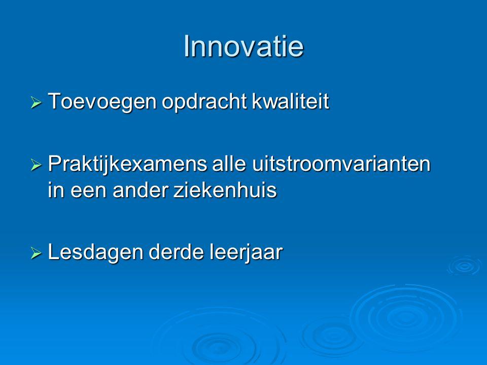 Innovatie  Toevoegen opdracht kwaliteit  Praktijkexamens alle uitstroomvarianten in een ander ziekenhuis  Lesdagen derde leerjaar