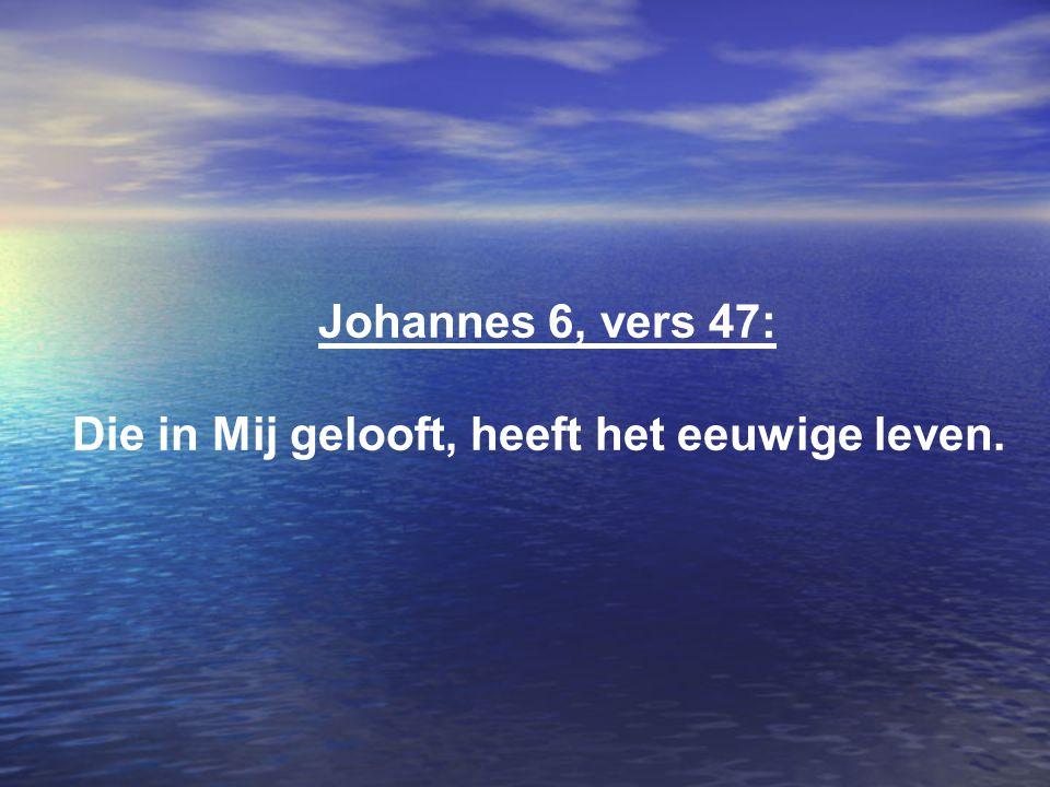 Johannes 6, vers 47: Die in Mij gelooft, heeft het eeuwige leven.