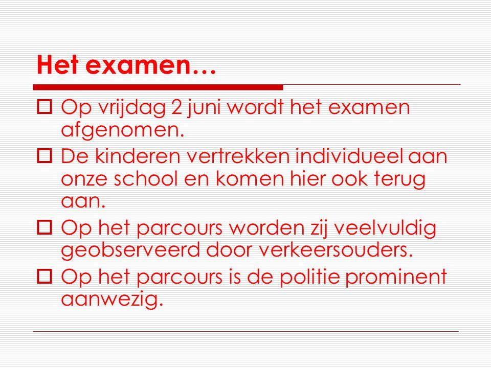 Het examen…  Op vrijdag 2 juni wordt het examen afgenomen.  De kinderen vertrekken individueel aan onze school en komen hier ook terug aan.  Op het
